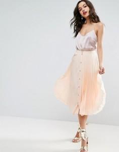 Плиссированная юбка миди на пуговицах ASOS - Розовый