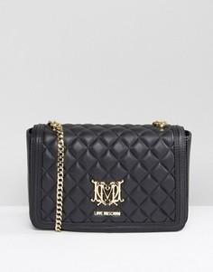Стеганая сумка на плечо с ремешком‑цепочкой Love Moschino - Черный