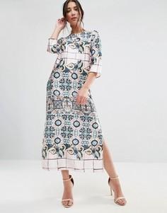 Платье миди с принтом и рукавами 3/4 Traffic People - Мульти