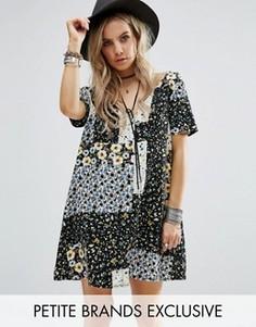 Чайное платье на пуговицах с цветочным принтом пэчворк Glamorous Petite - Мульти