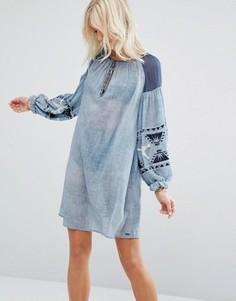 Платье из ткани шамбре Maison Scotch - Синий