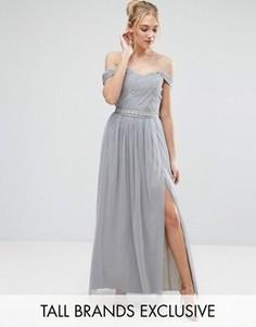 Платье макси с плиссированным лифом и открытыми плечами Little Mistress Tall - Серый