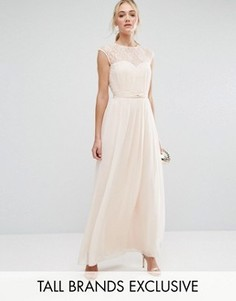 Плиссированное платье макси с кружевным верхом Little Mistress Tall - Бежевый