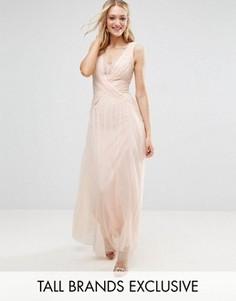 Плиссированное платье макси с запахом и кружевной отделкой Little Mistress Tall - Бежевый