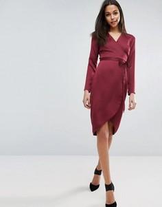 Атласное платье миди с запахом ASOS - Красный