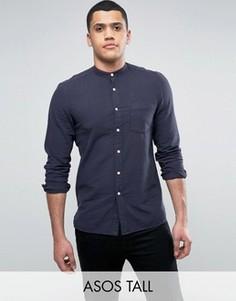 Темно-синяя фактурная рубашка стандартного кроя ASOS TALL - Темно-синий