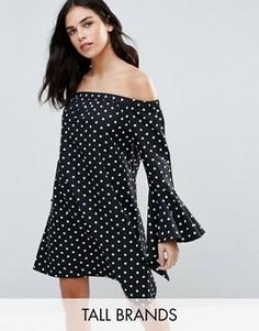 Платье с открытыми плечами и принтом в горошек Influence Tall - Черный