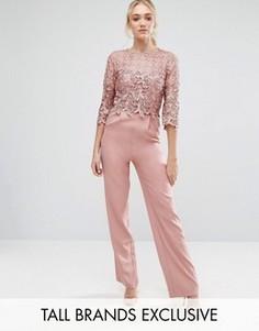 Комбинезон с кружевным топом Little Mistress Tall - Розовый