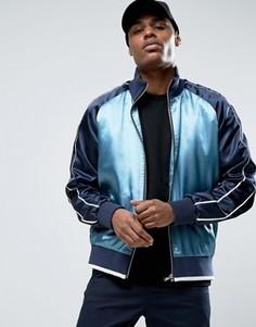 Синяя спортивная куртка на молнии в стиле колор блок ASOS - Синий