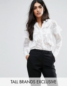 Рубашка с длинными рукавами и рюшами Y.A.S Tall Eli - Белый