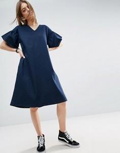 Платье-трапеция миди с оборками на рукавах ASOS WHITE - Темно-синий