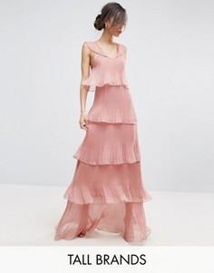 Плиссированное платье макси с многоярусными рюшами True Decadence Tall - Розовый