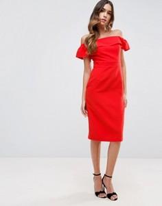 Платье миди с открытыми плечами из натуральных волокон ASOS - Оранжевый