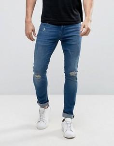 Темно-синие джинсы скинни с рваной отделкой Redefined Rebel - Синий