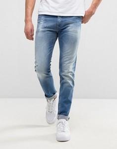 Суженные книзу выбеленные джинсы с потертостями Replay 901 - Синий