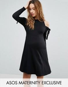 Платье с открытыми плечами, завязками и длинными рукавами ASOS Maternity - Черный