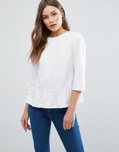 Блузка с оборкой по низу New Look - Белый