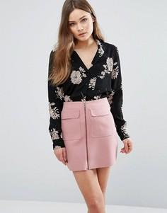 Рубашка в пижамном стиле с цветочным принтом New Look - Черный