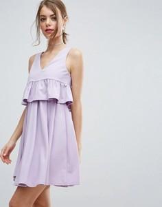 Платье мини для выпускного с укороченной накладкой и оборкой ASOS - Фиолетовый