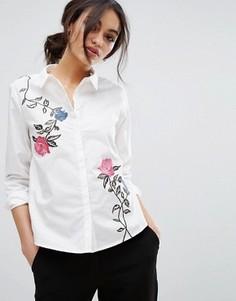 Рубашка с цветочной вышивкой Vero Moda - Белый