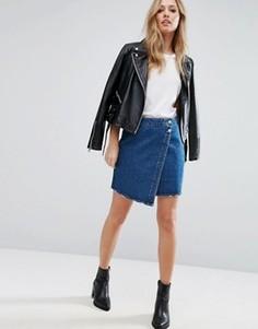 Джинсовая юбка с асимметричным запахом Vero Moda - Синий