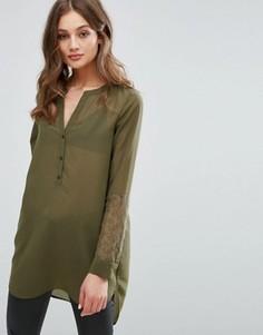 Рубашка с кружевами на рукавах Vero Moda - Зеленый