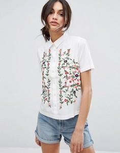 Рубашка с короткими рукавами с вышивкой Vero Moda - Белый
