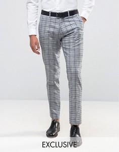 Зауженные брюки в клетку Only & Sons - Серый