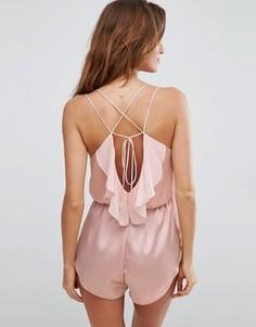 Ночная сорочка с лямками и оборками сзади ASOS Zoe - Розовый