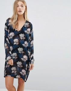 Платье с V-образным вырезом и рукавами летучая мышь Ganni Park Row - Черный