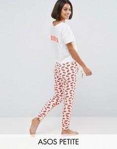 Пижамный комплект Kiss Me с футболкой и леггинсами ASOS PETITE - Белый