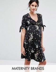 Платье с цветочным принтом для беременных New Look Maternity - Черный