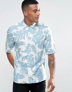Рубашка с короткими рукавами и лиственным принтом Diesel S-WESTY - Синий