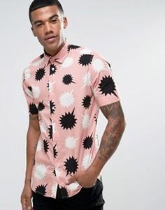 Рубашка с принтом и короткими рукавами Diesel S-WILLIE - Розовый