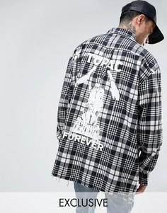 Oversize-рубашка с принтом на спине Reclaimed Vintage - Черный