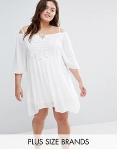 Платье с вырезами на плечах и вставкой кроше Diya Plus - Белый
