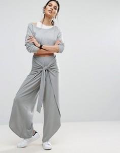 Широкие меланжевые брюки с узлом ASOS - Фиолетовый