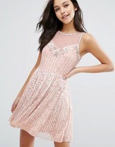 Приталенное платье Miss Selfridge - Бежевый