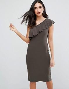 Платье на одно плечо с оборками Love - Зеленый