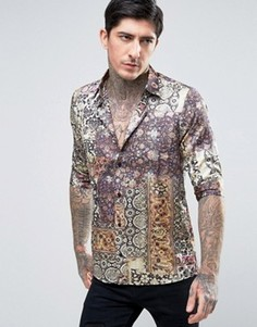 Приталенная атласная рубашка с короткими рукавами и принтом Rogues Of London - Мульти