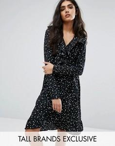Короткое приталенное чайное платье со звездным принтом Daisy Street Tall - Мульти