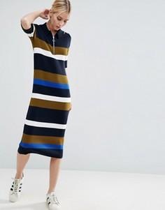 Трикотажное платье-поло в полоску ASOS - Мульти