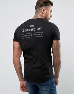 Черная обтягивающая футболка со светоотражающим принтом сзади Good For Nothing - Черный