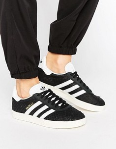 Кожаные кроссовки премиум ADIDAS GAZELLE - Черный