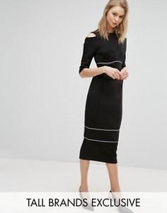 Платье-футляр с вырезами на плечах и кантом Alter Tall - Черный