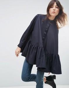 Oversize-рубашка с оборкой по краю и длинными рукавами ASOS WHITE - Темно-синий