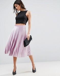 Плиссированная вельветовая юбка миди ASOS - Фиолетовый