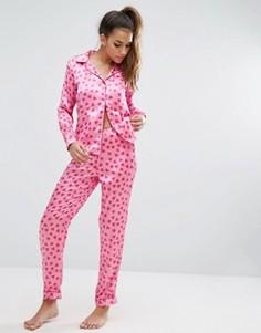 Пижамная рубашка и брюки с сердцами Boohoo - Мульти