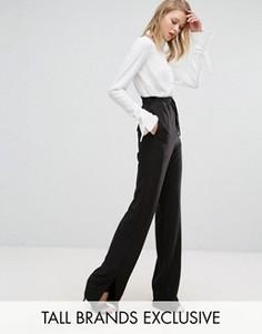 Широкие брюки с поясом и разрезами на штанинах Alter Tall - Черный