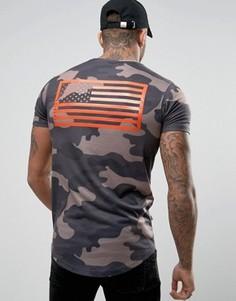 Обтягивающая камуфляжная футболка с принтом на спине Good For Nothing - Зеленый